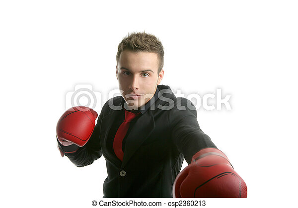 Boxer young competitive businessman isolated  - csp2360213