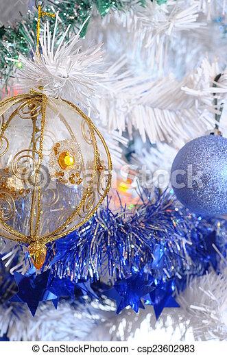 tree, christmas balls and tinsel