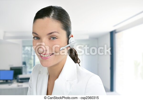 Headset phone business woman dress in white - csp2360315