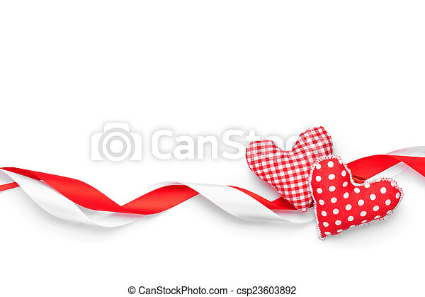 Valentines day background with toy hearts and ribbons - csp23603892