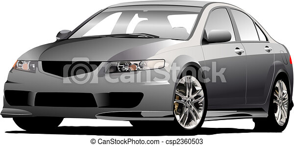 Gray (grey)  car sedan on the road. Vector illustration - csp2360503