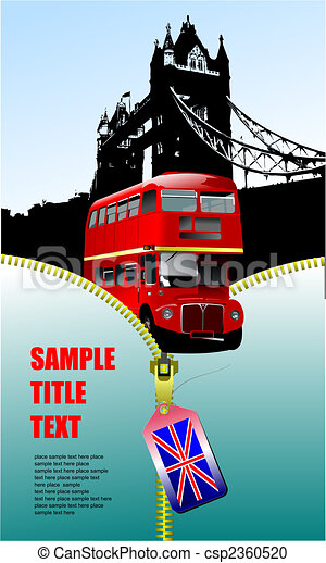 London images with open zipper and double Decker bus.  Vector illustration - csp2360520