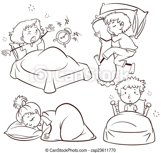 kids sleeping and waking up csp23611770 - Sketches Of Kids