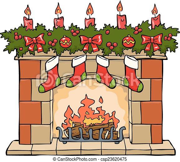 Ilustraciones vectoriales de chimenea navidad chimenea - Dibujos de chimeneas de navidad ...