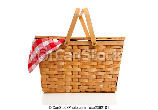Wicker Picnic Basket with Gingham Cloth - csp2362101