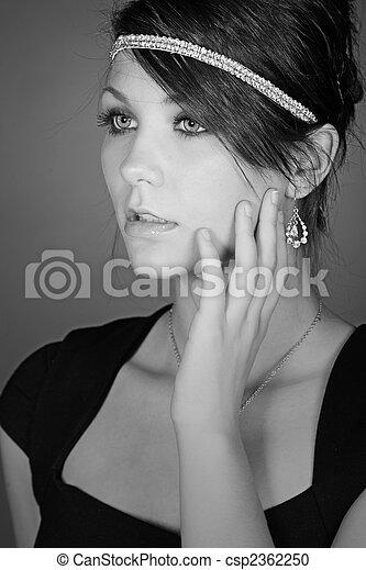 Monochromatic Shot of a Beautiful Teenage Girl in Diamond Headband - csp2362250