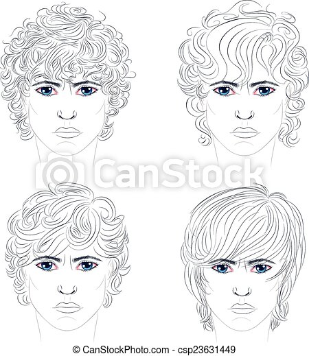 EPS Vector of Male Curly Hairstyles - Stylized portrait of ...