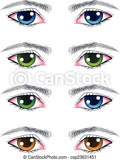 Clipart Vector of Colorful Male Eyes - Set of cartoon male eyes in ...