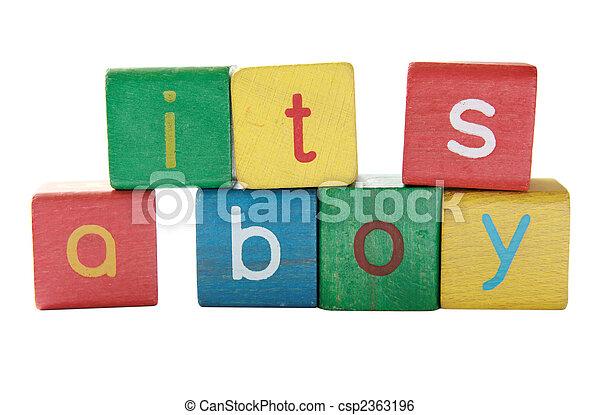 boy birth announcement in blocks - csp2363196