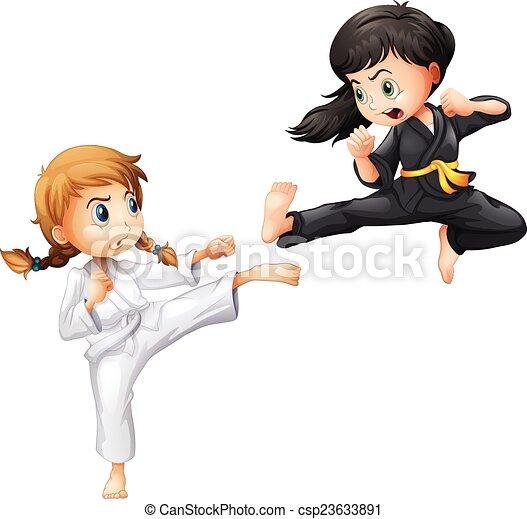 eps vectores de karate ilustraci u00f3n  de  ni u00f1as  hacer martial arts clip art female martial arts clipart black