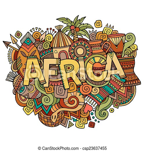 Africa hand lettering and doodles elements background - csp23637455