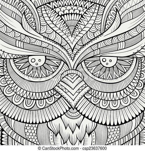 Decorative ornamental Owl background - csp23637600