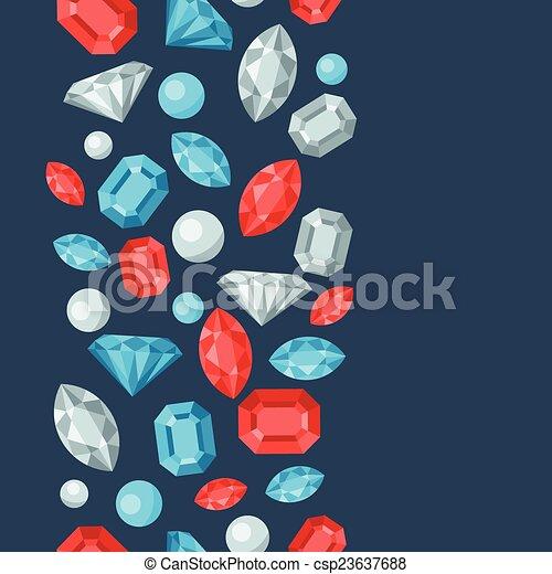 Seamless pattern with beautiful jewelry precious stones. - csp23637688