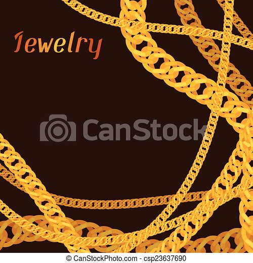 Background design with beautiful jewelry gold chains. - csp23637690