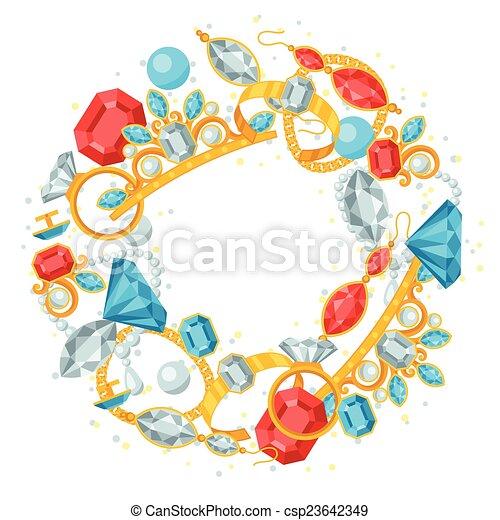 Set of beautiful jewelry and precious stones. - csp23642349
