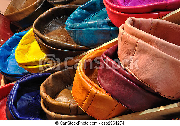 Colorful leather cushions for sale in Marrakech, Morocco - csp2364274
