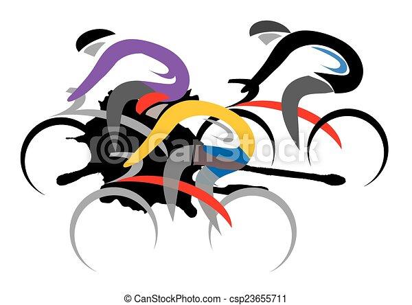 Clip art vecteur de cycliste coureurs trois color - Dessin cycliste ...