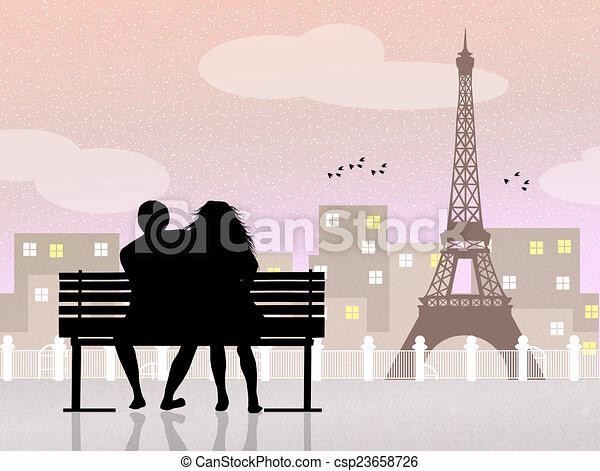 clip art de paris amants banc illustration de amants sur banc csp23658726. Black Bedroom Furniture Sets. Home Design Ideas