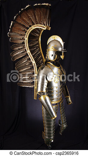 Armour of the medieval knight. Metal protection of the soldier against the weapon of the opponent - csp2365916