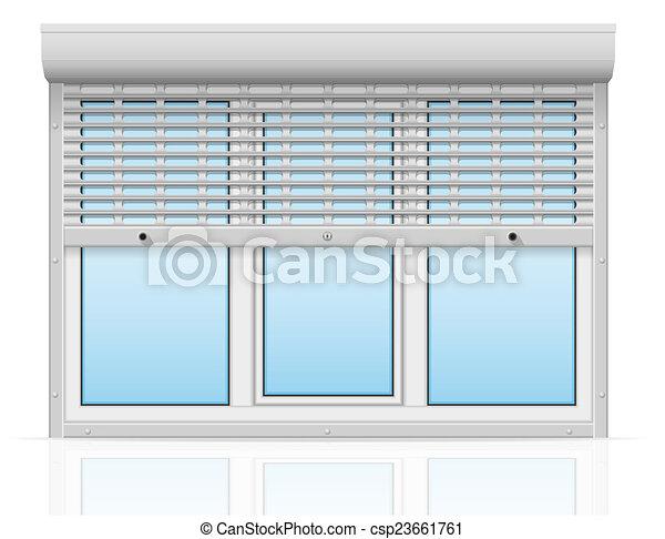 stock bild von plastik fenster hinten metall perforiert rollen csp23661761 suchen sie. Black Bedroom Furniture Sets. Home Design Ideas