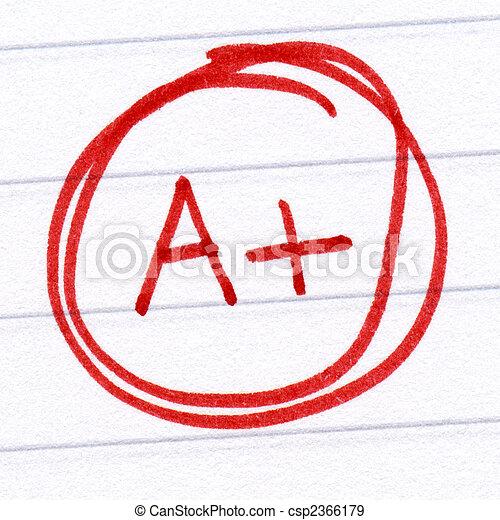 A+ grade written on a test paper. - csp2366179