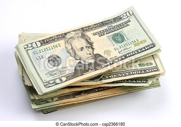 Twenty dollars bills stacked - csp2366180