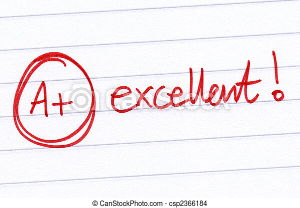 A+ excellent written on an exam paper. - csp2366184