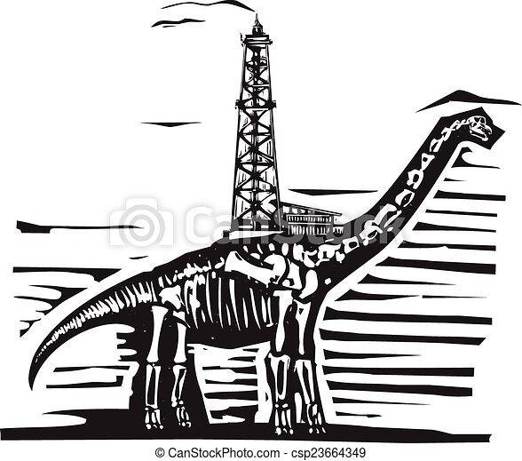 EPS Vector of Brontosaurus Oil Well Drill - Woodcut style ...  EPS Vector of B...