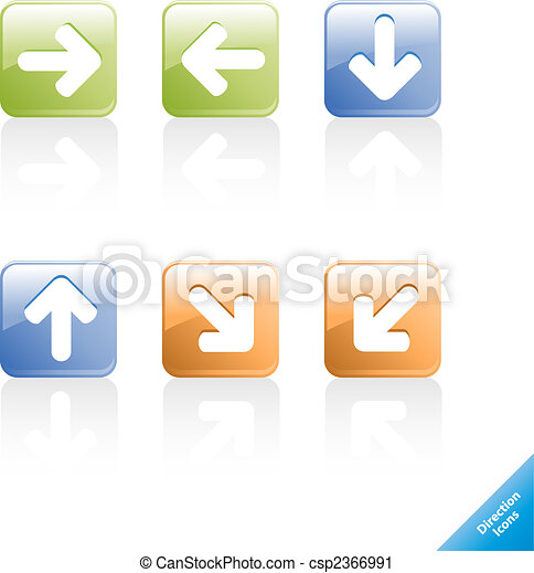 Set of aqua web 2.0 direction computer icons. Easy to edit, any size. - csp2366991