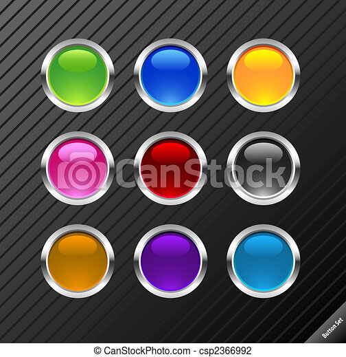 Collection of round glossy vector buttons. Different colors, easy to edit, any size. Aqua web 2.0 style. - csp2366992
