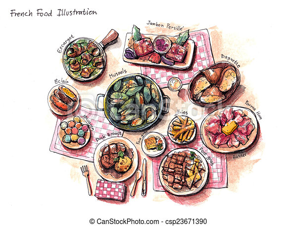 Stock Illustration of french food illustration, escargot, mussles ...
