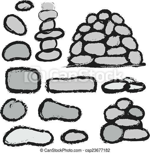 Stock de ilustraciones de piedras conjunto caricatura - Dibujos de piedras ...