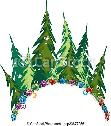 Vecteur Clipart de sapin, forêt, décorations, noël - Fairy ...