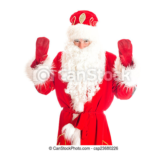 stock photo of santa claus welcomes you. isolated on white