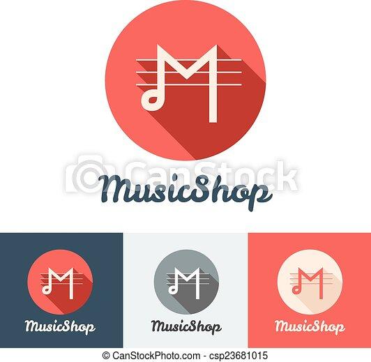 Vector flat modern minimalistic music shop or studio logo  - csp23681015