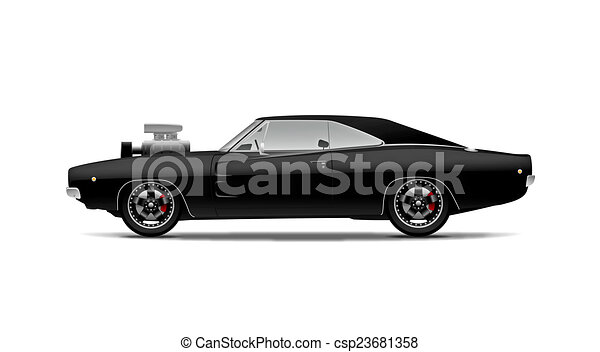 Stock Illustrations of black muscle car with supercharger ...