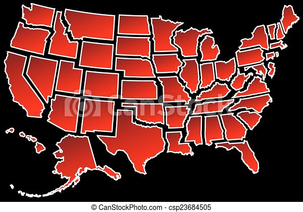 US Map 50 United States borders - csp23684505