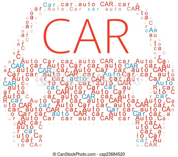 Car symbol Auto words icon - csp23684520
