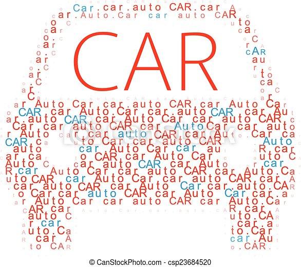 Car symbol Auto words icon - csp23684520