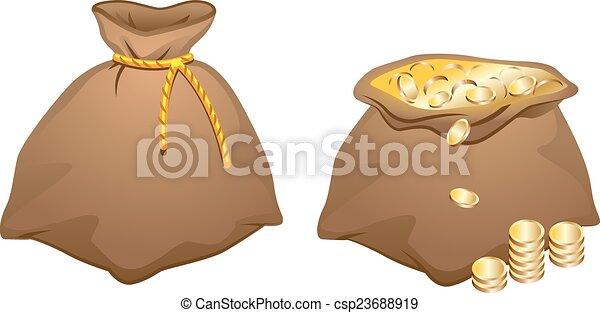 Vector Clip Art of Brown bag full of gold coins. Illustration in ...