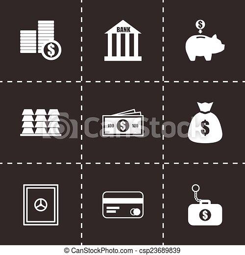 Vector black bank icons set - csp23689839