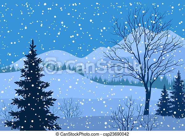 dessin de hiver montagne paysage sapin arbres hiver csp23690042 recherchez des. Black Bedroom Furniture Sets. Home Design Ideas