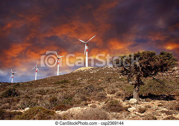 Wind turbines in movement - csp2369144
