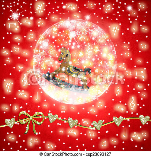 Christmas Time musical greeting card, a vintage rockinghorse inside shiny ball on a red background with stars and musical notes