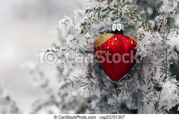 Christmas tree in frost heart - csp23701307