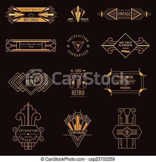Clipart vector of art deco vintage frames and design - Art deco design elements ...