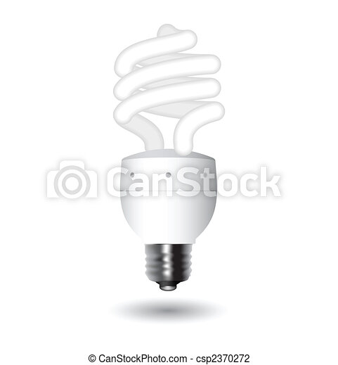 Energy saving fluorescent light bulb - editable vector - csp2370272