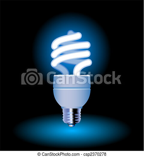 Energy saving fluorescent light bulb - editable vector - csp2370278