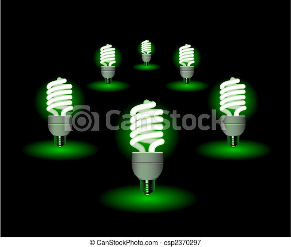 Energy saving fluorescent light bulb - editable vector - csp2370297