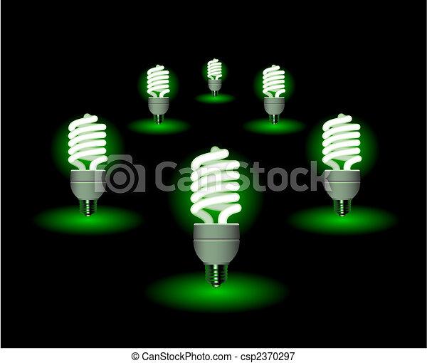 Energy saving fluorescent light bulb - editable vector - csp2370297